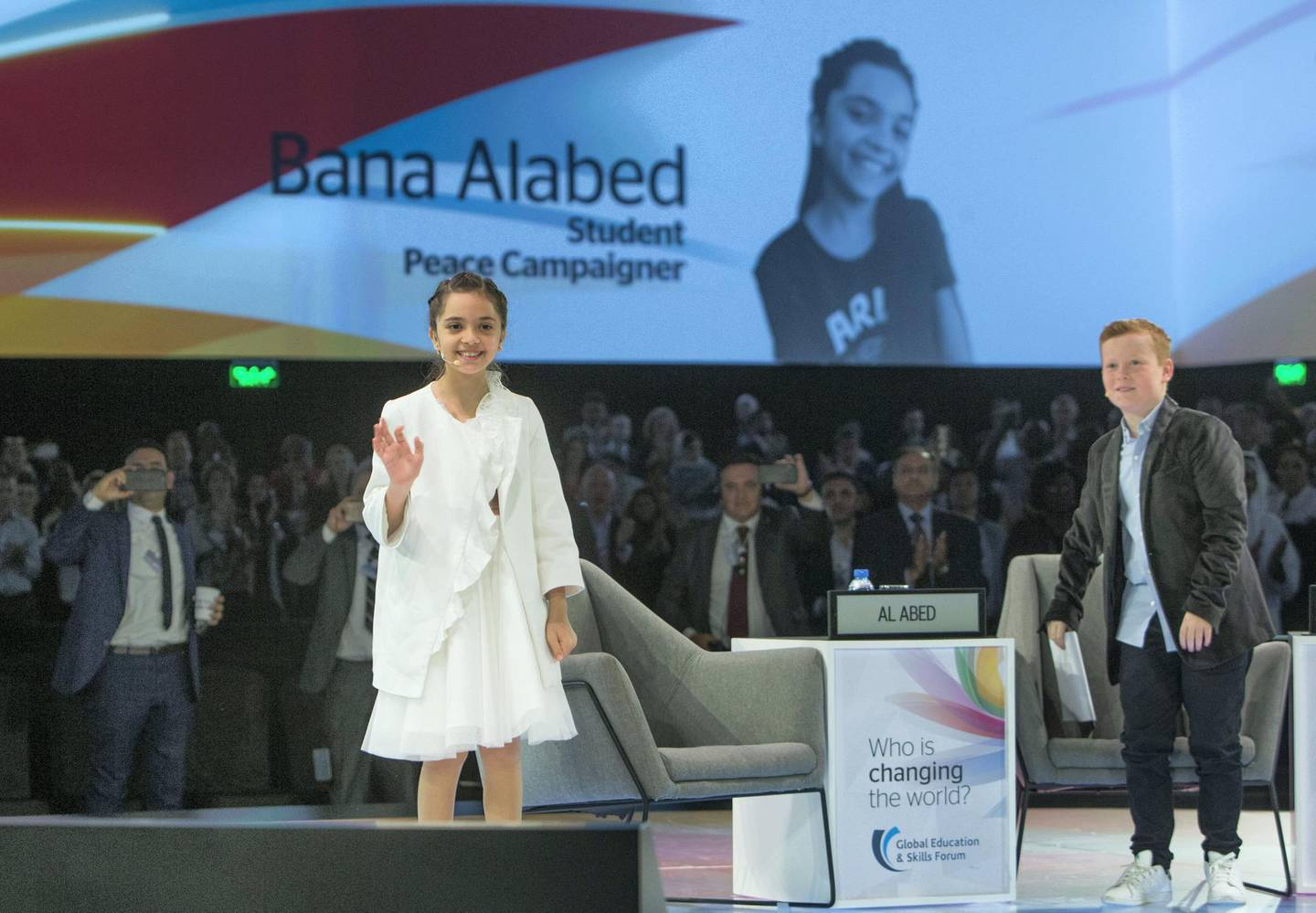 DUBAI, UNITED ARAB EMIRATES - Sana Alabed, peace campaigner who is know for her tweets at the Global Education and Skills Forum 2019 at Atlantis, The Palm.  Leslie Pableo for The National