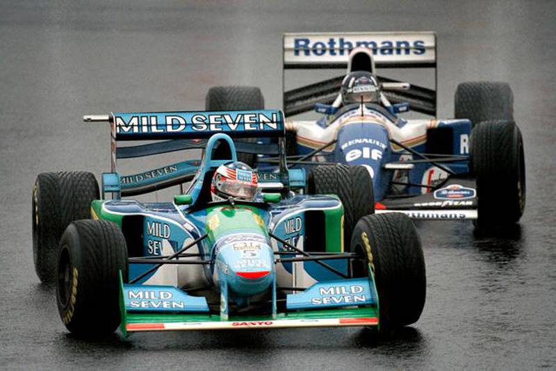 6 nov 1994:  Benetton Ford driver Michael Schumacher of Germany leads from Williams Renault driver Damon Hill of Great Britain during the Japanese Grand Prix at the Suzuka circuit in Japan. Hill finished in first place and Schumacher in second. \ Mandatory Credit: Pascal  Rondeau/Allsport
