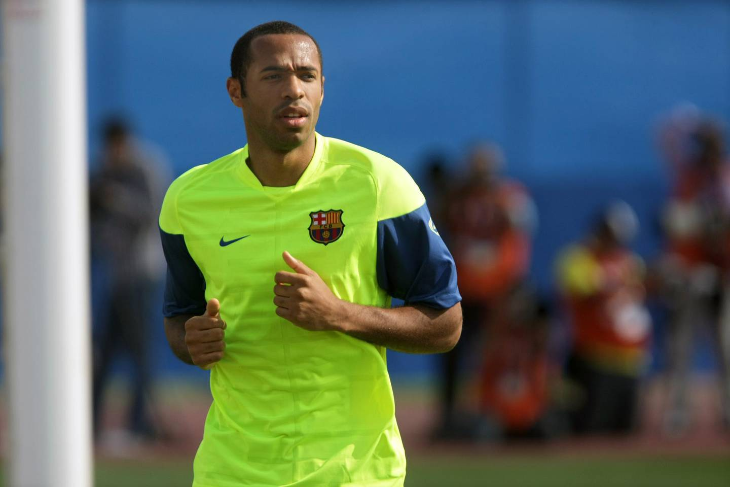 United Arab Emirates - Abu Dhabi - Dec 14 - 2009 :  Barcelona football player Thierry Henry during a training session at the officers club. ( Jaime Puebla / The National ) *** Local Caption ***  JP Barcelona 01.jpg