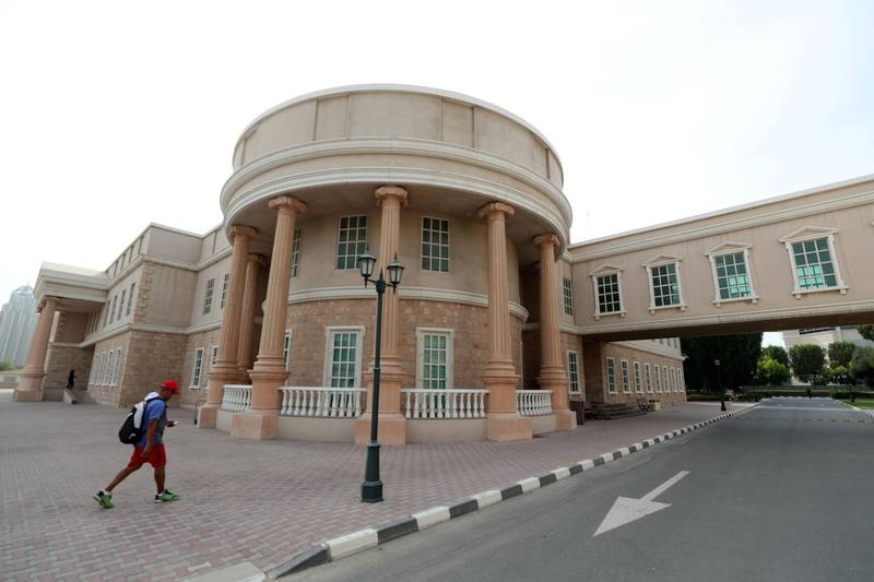 Dubai, United Arab Emirates - September 16, 2019: General view of the American University of Dubai campus. Dr David Schmidt is the new president of American University in Dubai. Monday the 16th of September 2019. Dubai. Chris Whiteoak / The National