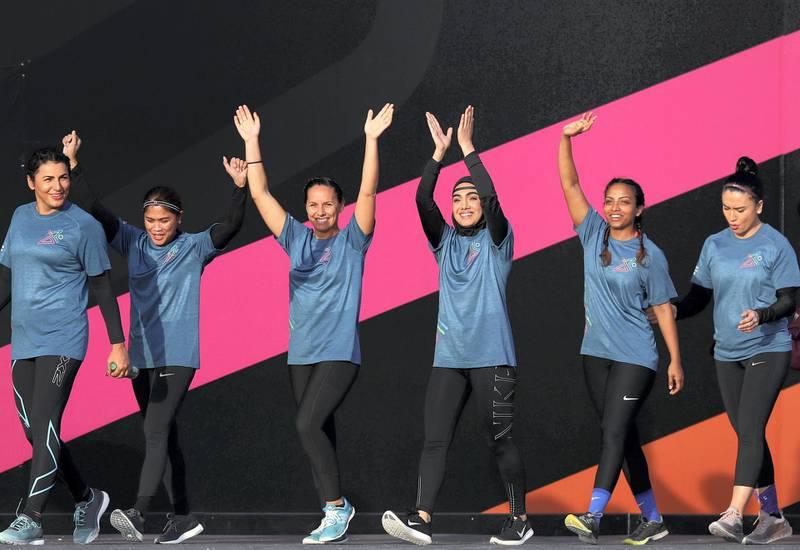 Dubai, United Arab Emirates - April 06, 2019: People prepare to take part in the women's finals of the Gov Games 2019. Saturday the 6th of April 2019. Kite Beach, Dubai. Chris Whiteoak / The National