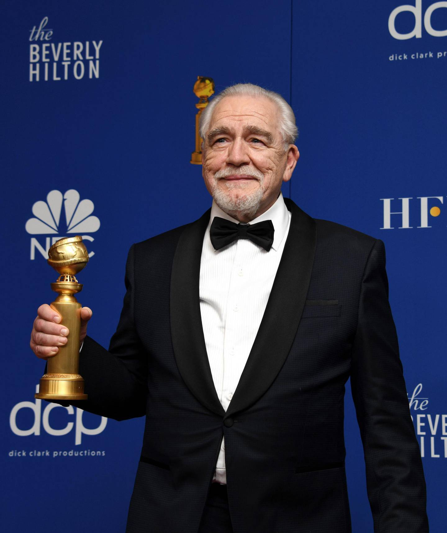 epa08106242 Brian Cox poses with the Best Performance by an Actor In A Television Series - Drama award in the press room during the 77th annual Golden Globe Awards ceremony at the Beverly Hilton Hotel, in Beverly Hills, California, USA, 05 January 2020.  EPA/CHRISTIAN MONTERROSA