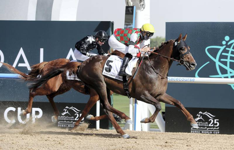 DUBAI , UNITED ARAB EMIRATES , MARCH 27  – 2021 :- DERYAN  (FR) ridden by Loritz Mendizabal ( no 5 ) won the 1st horse race  Dubai Kahayla Classic 2000m dirt  during the Dubai World Cup held at Meydan Racecourse in Dubai. ( Pawan Singh / The National ) For News/Sports/Instagram/Big Picture. Story by Amith
