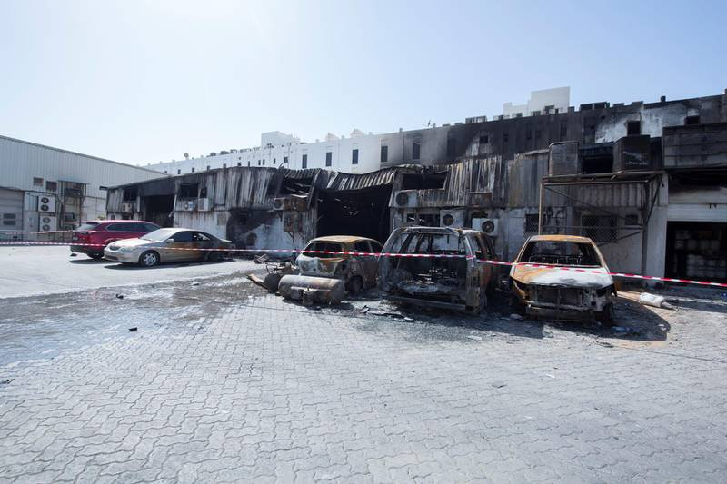 DUBAI, UNITED ARAB EMIRATES - Aftermath of fire that erupted yesterday  near Siddique Metro Station, Deira. Ruel Pableo for The National