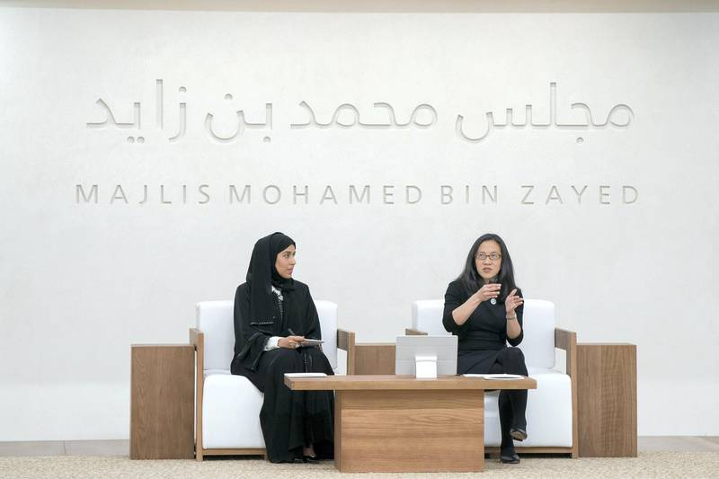 ABU DHABI, UNITED ARAB EMIRATES - May 23, 2018: Angela Duckworth (R) delivers a lecture titled 'True Grit: The Surprising, and Inspiring Science of Success', at Majlis Mohamed bin Zayed. Seen with HE Hessa Essa Buhumaid, UAE Minister of Community Development (L). (Mohamed Al Hammadi / Crown Prince Court - Abu Dhabi ) ---