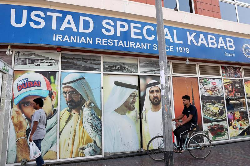 DUBAI , UNITED ARAB EMIRATES , January 9 ��� 2019 :- Outside view of the Ustad Special Kabab Iranian restaurant in Bur Dubai in Dubai. ( Pawan Singh / The National ) For News. Story by Nick Webster