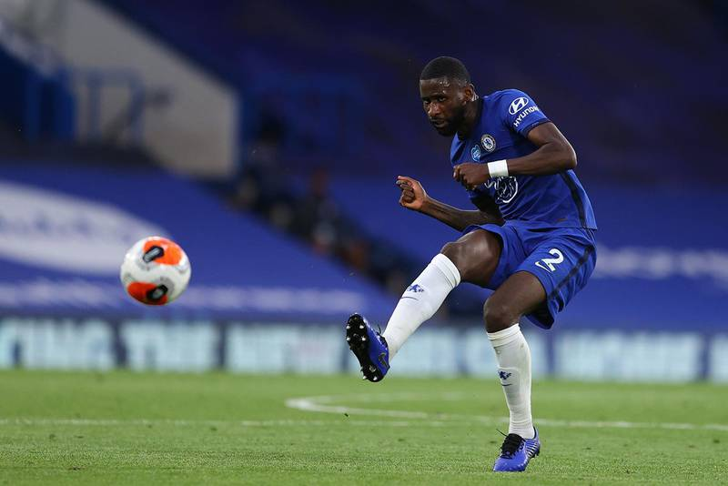 Chelsea's German defender Antonio Rudiger controls the ball during the English Premier League football match between Chelsea and Norwich City at Stamford Bridge in London on July 14, 2020. (Photo by Richard Heathcote / POOL / AFP) / RESTRICTED TO EDITORIAL USE. No use with unauthorized audio, video, data, fixture lists, club/league logos or 'live' services. Online in-match use limited to 120 images. An additional 40 images may be used in extra time. No video emulation. Social media in-match use limited to 120 images. An additional 40 images may be used in extra time. No use in betting publications, games or single club/league/player publications. /