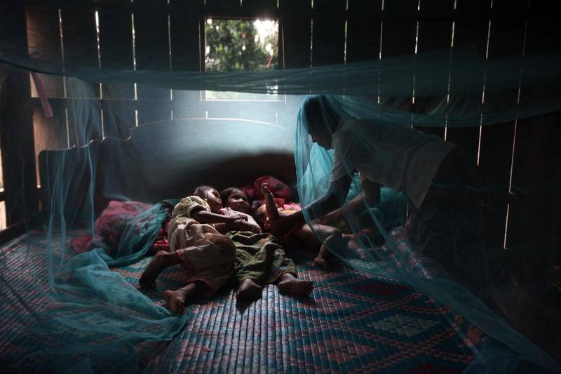 FOR MALARIA / SMALPOX GALLERY. PREY MONG KOL, CAMBODIA - JULY 18:  Yonta ,6, rests with her sister Montra,3, and brother  Leakhena, 4months under a mosquito bed net keeping dry from the monsoon rain July 18, 2010 in Prey Mong kol village in Pailin province. Part of the great success of controlling the malaria is due to the distribution by National Malaria center (CNM)  and WHO of the long lasting mosquito nets that also contain the insecticide embedded into the net causing the insect to die upon contact. According to WHO,  around 3,000 people from various villages have been tested so far in an area where resistance to artemisinin surfaced, which is the most effective ingredient vital to all anti-malarial drugs used throughout the world, especially in fighting the more lethal Falciparum malaria. The results are proving that the resistant malaria has almost disappeared from the area. (Photo by Paula Bronstein/Getty Images)