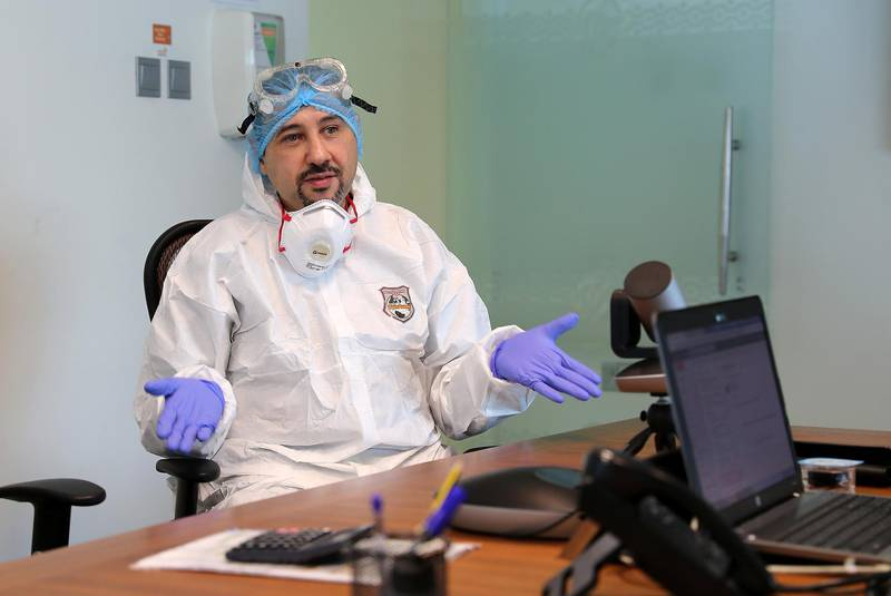 DUBAI, UNITED ARAB EMIRATES , April 26– 2020 :- Dr. Adel Alsisi, Consultant Critical Care Medicine, Chief Medical Officer, Prime Hospital wearing PPE kit during the interview at the Prime Hospital on airport road in Al Garhoud in Dubai . (Pawan Singh / The National) For News/Standalone/Online/Instagram/Stock.  Story by Nick Webster