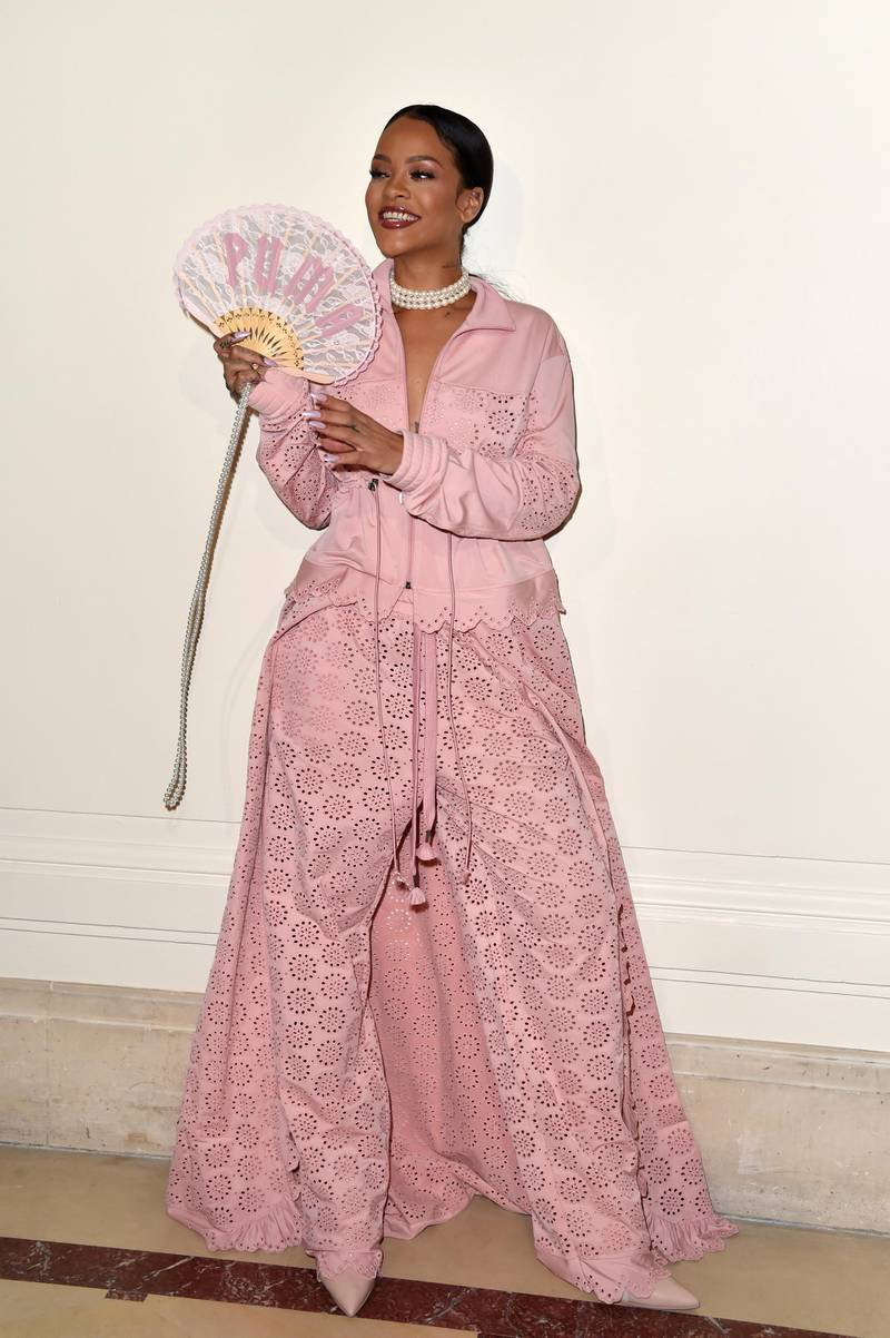 PARIS, FRANCE - SEPTEMBER 28:  Rihanna is seen backstage during FENTY x PUMA by Rihanna at Hotel Salomon de Rothschild on September 28, 2016 in Paris, France.  (Photo by Pascal Le Segretain/Getty Images for Fenty x Puma)