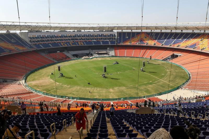 A general view of Sardar Patel Stadium is pictured in Motera, on the outskirts of Ahmedabad, on February 21, 2020. - US President Donald Trump will open the world's biggest cricket stadium in India next week, but critics wonder whether it's just another vanity project by Prime Minister Narendra Modi in his home state. (Photo by SAM PANTHAKY / AFP)