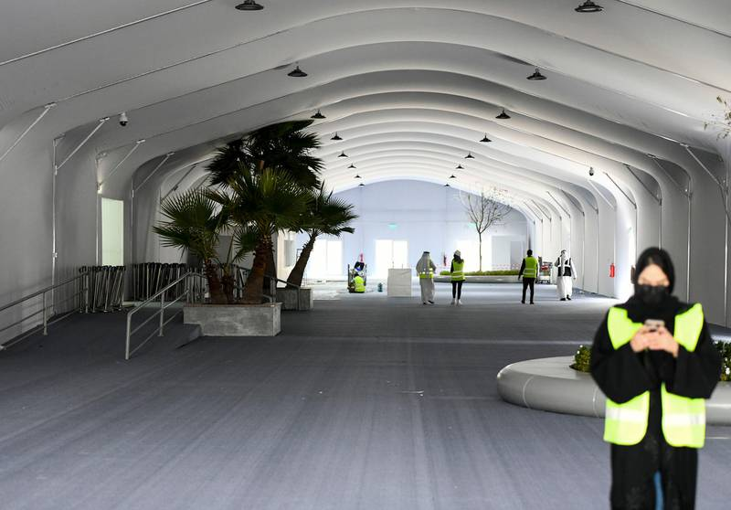 Abu Dhabi, United Arab Emirates - Ongoing prep work for the NAVDEX 2021 taking place at ADNEC Marina. Khushnum Bhandari for The National