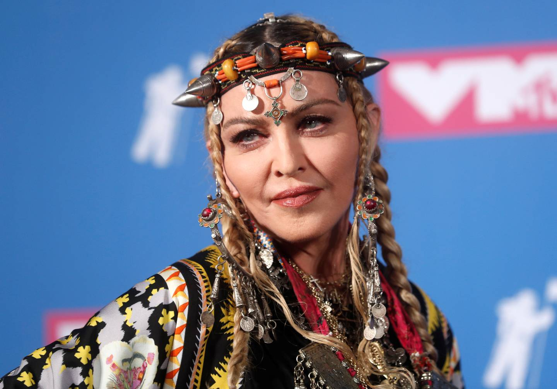FILE PHOTO: 2018 MTV Video Music Awards - Photo Room - Radio City Music Hall, New York, U.S., August 20, 2018. - Madonna poses backstage. REUTERS/Carlo Allegri/File Photo