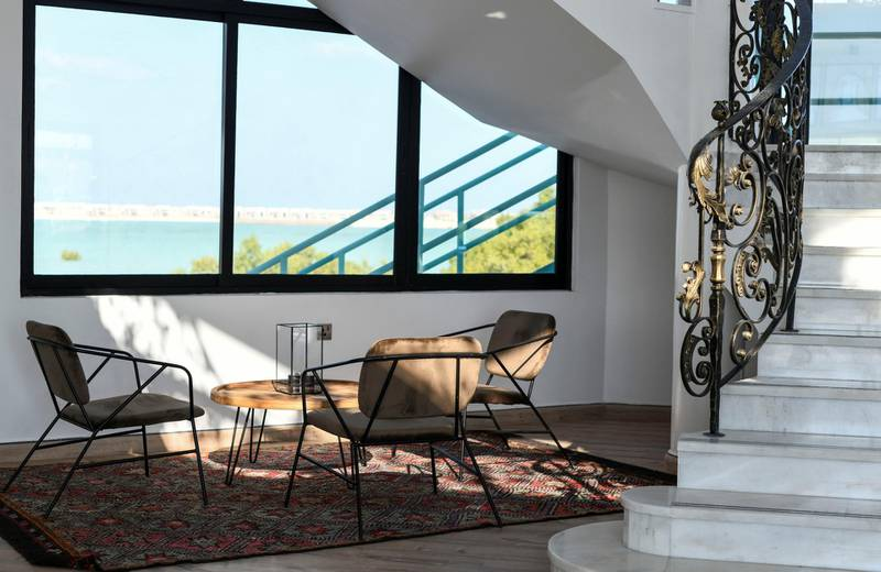 Abu Dhabi, United Arab Emirates - Front reception with an eclectic feel at the Pure Eco Retreat nestled in the heart of mangroves, on Jubail Island. Khushnum Bhandari for The National