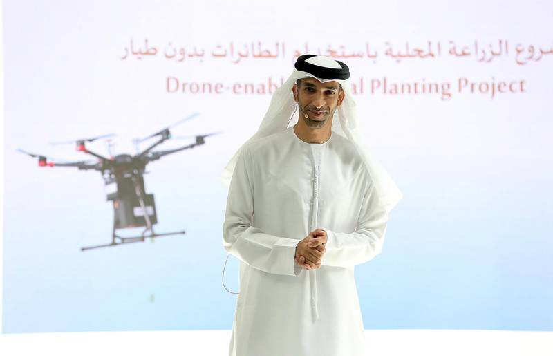 DUBAI, UNITED ARAB EMIRATES , Feb 25  – 2020 :- Dr. Thani Bin Ahmed Al Zeyoudi, Minister of Climate Change and Environment speaking on the topic of Drone Enabled Local Planting Project during the innovation talks held at Emirates Towers in Dubai. (Pawan Singh / The National) For News/Online.  Story by Kelly