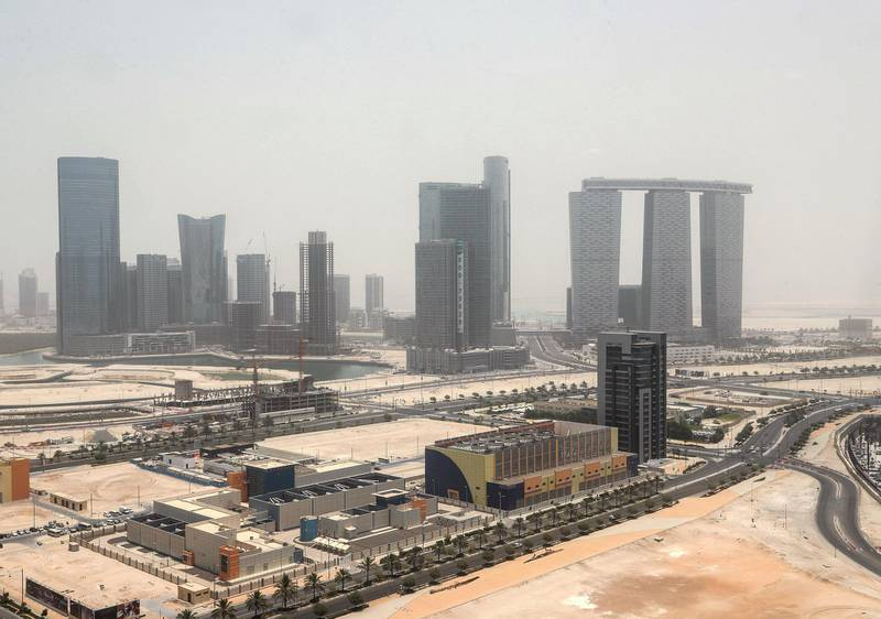 Abu Dhabi, U.A.E., July 5, 2018. Abu Dhabi hazy weather shot from level 28 of Tamouh Tower, Al Reem Island. Victor Besa / The National Section:  NA For:  weather images for Olive Obina