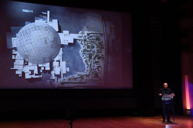 """PARIS, FRANCE - SEPTEMBER 22:  Jean Nouvel Architect of Louvre Abu Dhabi, delivers a speech during the press presentation of """"Louvre Abu Dhabi"""" at Musee du Louvre on September 22, 2017 in Paris, France.  (Photo by Pascal Le Segretain/Getty Images)"""