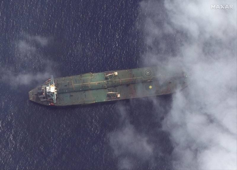 epa07826189 A satellite photo made available by MAXAR Technologies on 07 September 2019 shows a satellite image of the Adrian Darya-1 oil tanker off the coast of Tartus, Syria, 06 September 2019. The Iranian oil tanker 'Adrian Darya 1', loaded with some 2.1 million barrels of oil and formerly know as the 'Grace 1', was seized by Gibraltar authorities on 04 July on  suspicion of delivering Iranian oil to Syrian Banyas refinery in violation of EU sanctions.  EPA/SATELLITE IMAGE ©2019 MAXAR TECHNOLOGIES / HANDOUT (Satellite image © 2018 DigitalGlobe, a Maxar company) HANDOUT EDITORIAL USE ONLY/NO SALES