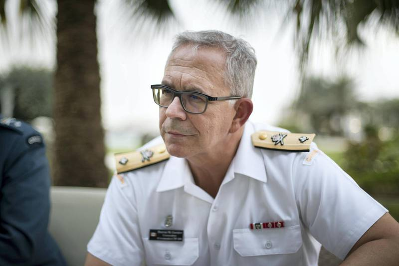 ABU DHABI, UNITED ARAB EMIRATES - FEBRUARY, 19 2019.Darren M Garnier, Commodore at Canadian Armed Forces. (Photo by Reem Mohammed/The National)Reporter: Section:  NA
