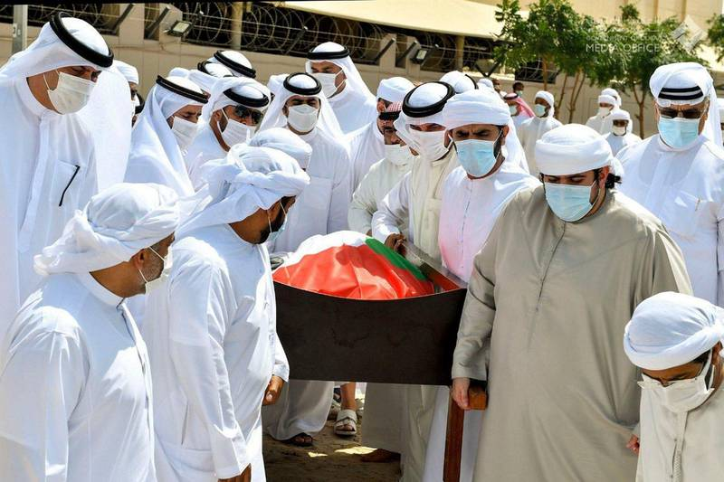 Hamdan bin Mohammed and Maktoum Bin Mohammed carry the body of the late Sheikh Hamdan bin Rashid Al Maktoum to his final resting place in Umm Hurair cemetery in Dubai. Dubai Media Office
