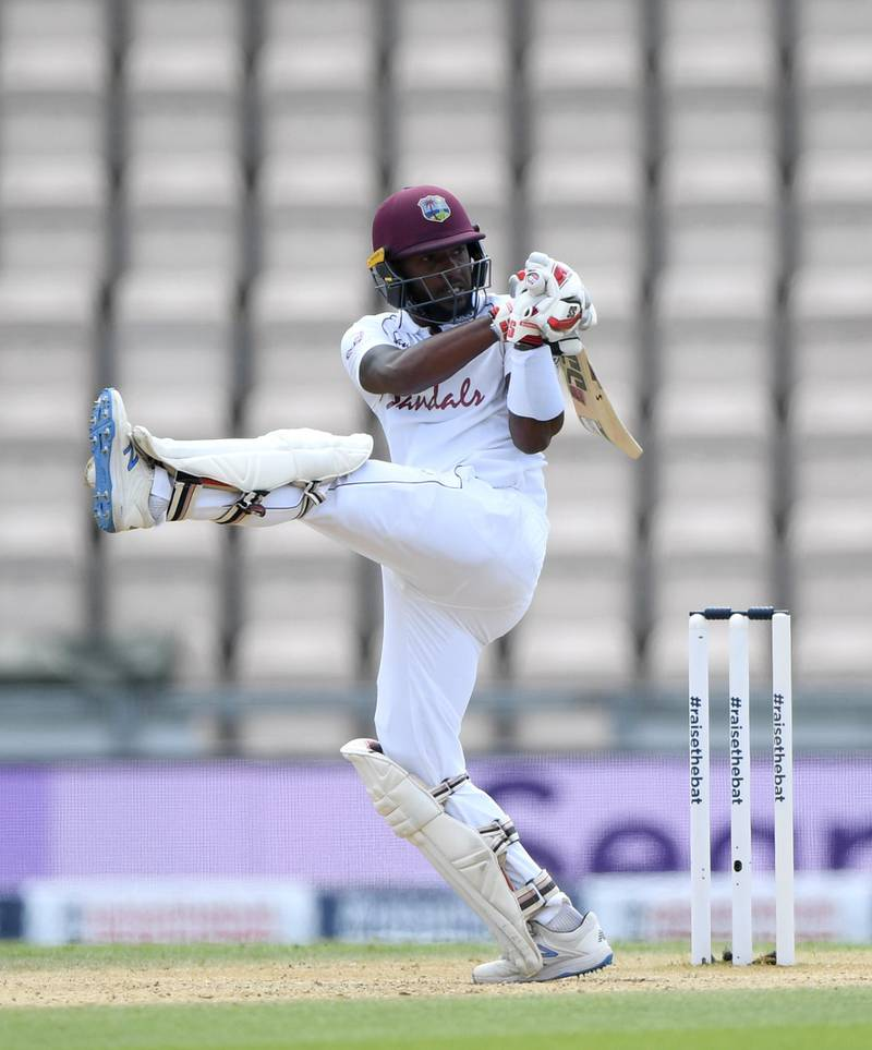 SOUTHAMPTON, ENGLAND - JULY 12: Jermaine Blackwood of the West Indies bats during day five of the 1st #RaiseTheBat Test match  at The Ageas Bowl on July 12, 2020 in Southampton, England. (Photo by Stu Forster/Getty Images for ECB)