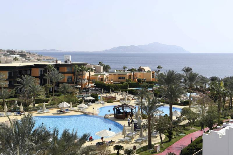 A picture taken on February 24, 2019, shows the Savoy resort in the Egyptian Red Sea resort of Sharm el-Sheikh. (Photo by Khaled DESOUKI / AFP)