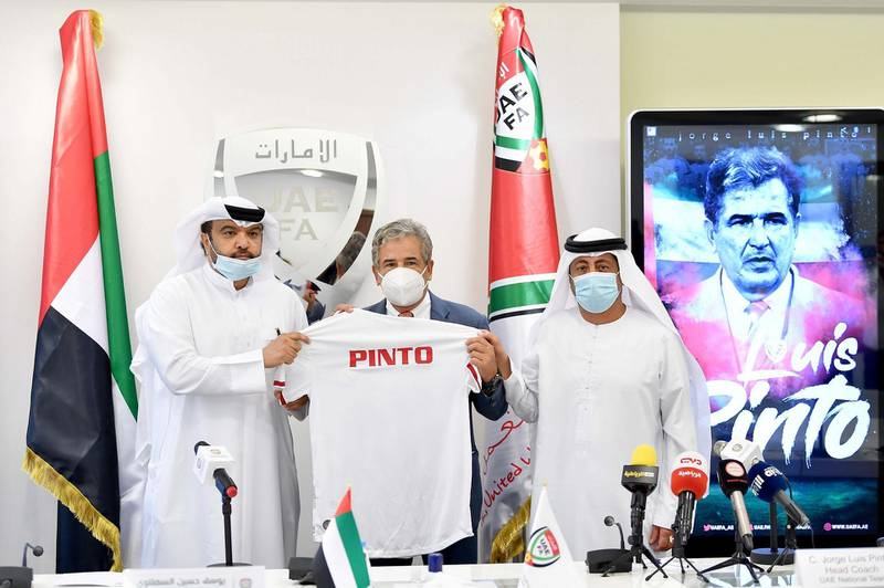 Jorge Luis Pinto, new manager of the UAE national team, during his official press conference. Courtesy UAE FA
