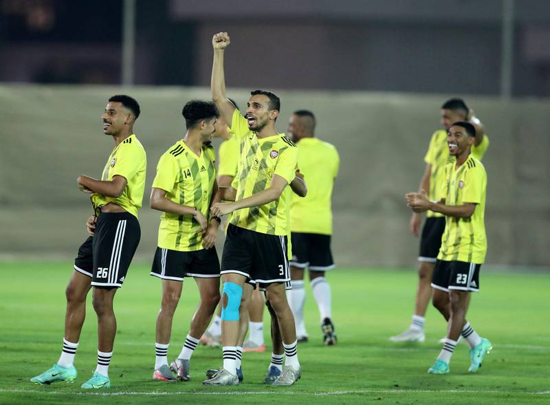 UAE player Walid Abbas celebrates during training before the game between the UAE and Indonesia in the World cup qualifiers at the Zabeel Stadium, Dubai on June 10th, 2021. Chris Whiteoak / The National.  Reporter: John McAuley for Sport