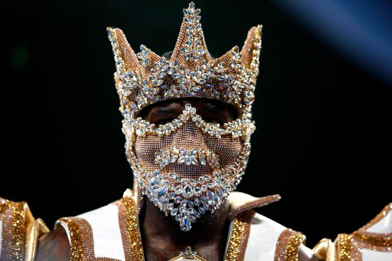 LAS VEGAS, NEVADA - NOVEMBER 23: WBC heavyweight champion Deontay Wilder enters the ring for the start of his title fight against Luis Ortiz at MGM Grand Garden Arena on November 23, 2019 in Las Vegas, Nevada. Wilder retained his title with a seventh-round knockout.   Steve Marcus/Getty Images/AFP