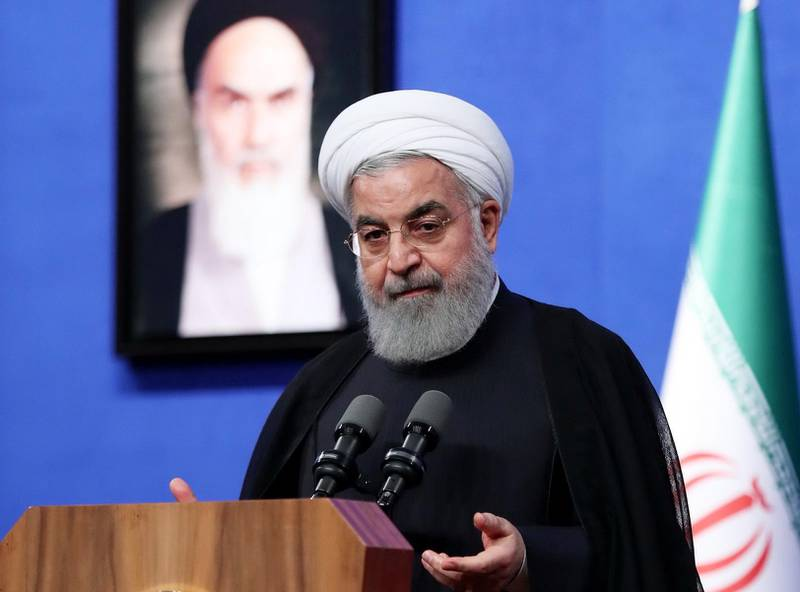 epa06754677 A handout photo made available by the Iranian presidential office shows Iranian President Hassan Rouhani speaks during a ceremony in Tehran, Iran, 21 May 2018. Rouhani has criticised US State Secretary Pompeo's oulines of his new Iran strategy and rebuffed it saying 'Who you are to decide for Iran and the world?'. Pompeo had threatened Iran with 'strongest sanctions in history' if Iran did not comply with US demands.   HANDOUT EDITORIAL USE ONLY/NO SALES