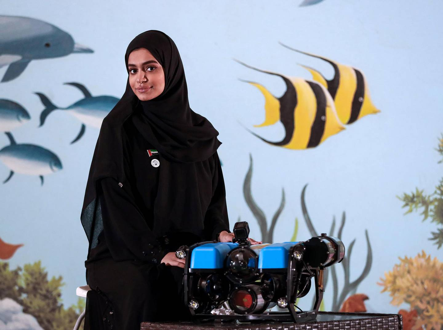 Abu Dhabi, U.A.E., November 28, 2018.  Sara Al Ameri and her smart submarine equipped with sensors and cameras to record data as part of a University Innovation Programme. Victor Besa / The NationalSection:  NAReporter:  Ramola Talwar