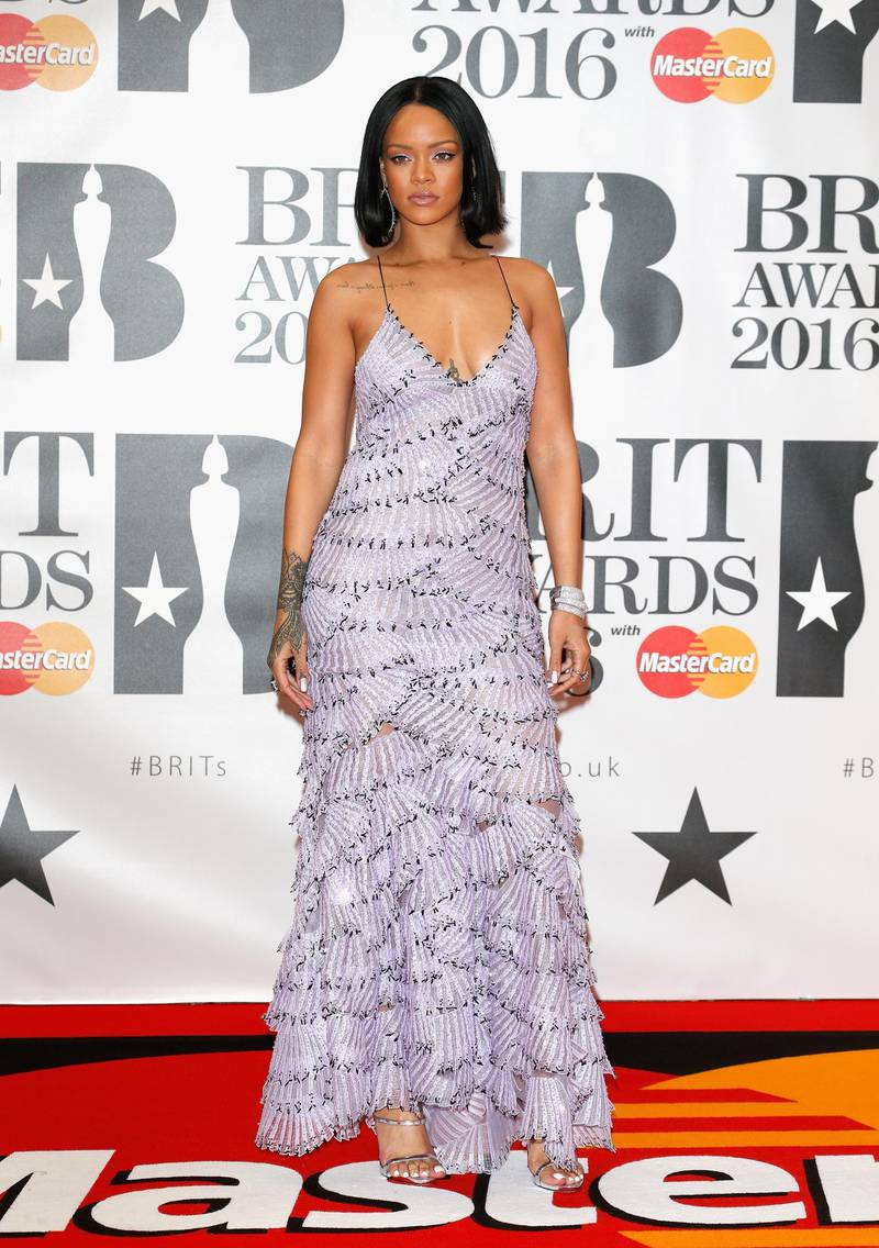 LONDON, ENGLAND - FEBRUARY 24: (EDITORIAL USE ONLY)  Rihanna attends the BRIT Awards 2016 at The O2 Arena on February 24, 2016 in London, England.  (Photo by Luca Teuchmann/Getty Images)