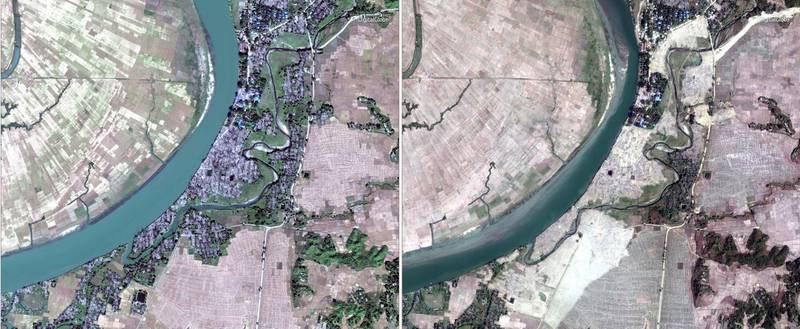 This combination of two satellite images provided by DigitalGlobe, Dec. 2, 2017, left; and Feb. 5, 2018, right; displaying the village of Myar Zin, about 30 kilometers (19 miles) north of Maungdaw, Rakhine state, Myanmar shows, that predominantly Rohingya village and hamlets have been completely leveled by authorities in recent weeks, far more than previously reported. While Myanmar's government claims it's simply trying to rebuild a devastated region, the operation has raised deep concern among human rights advocates, who say the government is destroying what amounts to scores of crime scenes before any credible investigation takes place. (DigitalGlobe via AP)