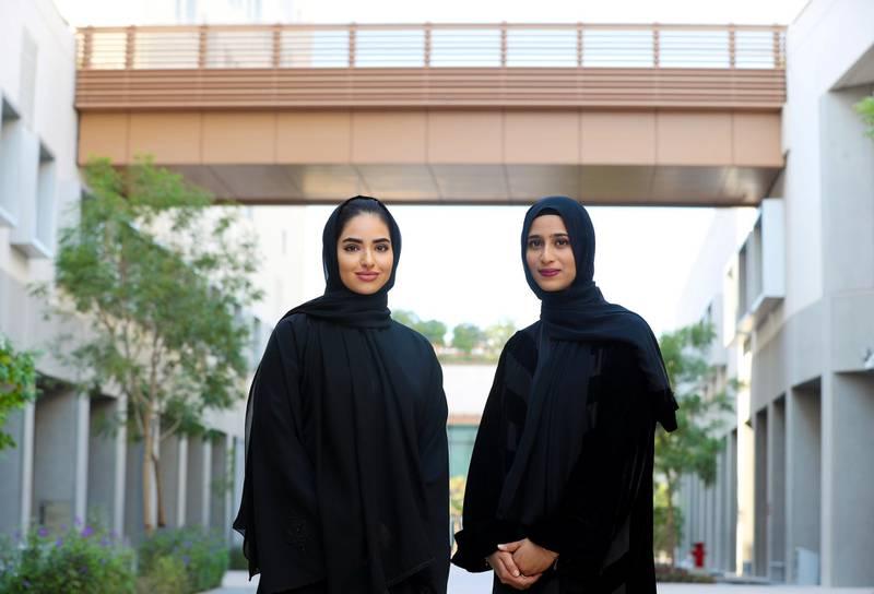 Abu Dhabi, United Arab Emirates - December 06, 2018: Two seniors from NYU Abu Dhabi, Majida Al Maktoum (L) and Amal Al Gergawi, have been selected as 2019 UAE Rhodes Scholars. Thursday the 6th of December 2018 at New York University, Abu Dhabi. Chris Whiteoak / The National