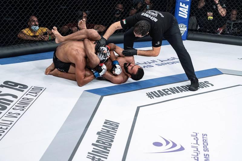 Abdullah Mohammad Ali Musalim has Omar Emad held in a triangle choke in the UAE Warriors 19 Arabia 3 at the Jiu-Jitsu Arena on Friday, June 18, 2021. Courtesy UAE Warriors