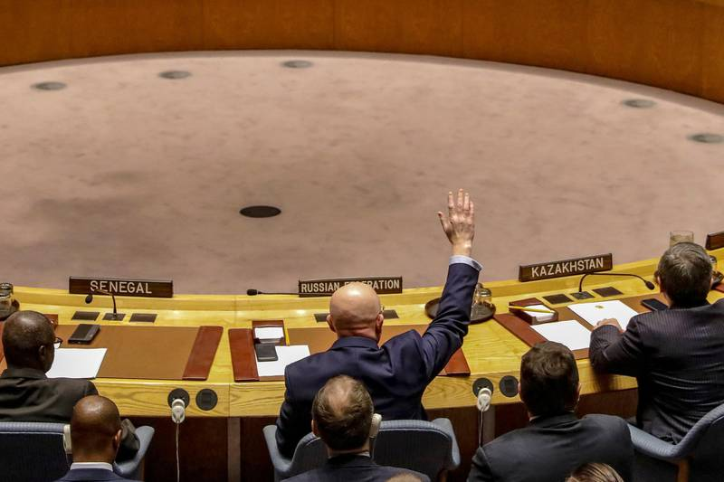 Russian Ambassador to the United Nations Vasily Nebenzya votes against a bid to renew an international inquiry into chemical weapons attacks in Syria, during a meeting of the U.N. Security Council at the United Nations headquarters in New York, U.S., November 17, 2017.  REUTERS/Brendan McDermid
