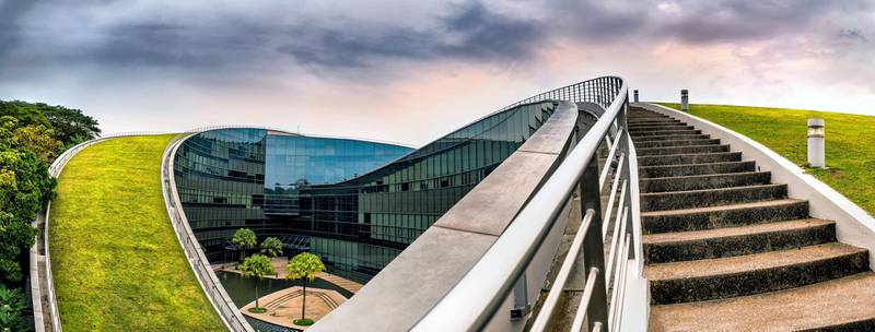 MGE300 SINGAPORE - October 24, 2016: Modern architectural building of Nanyang Technological University in Singapore