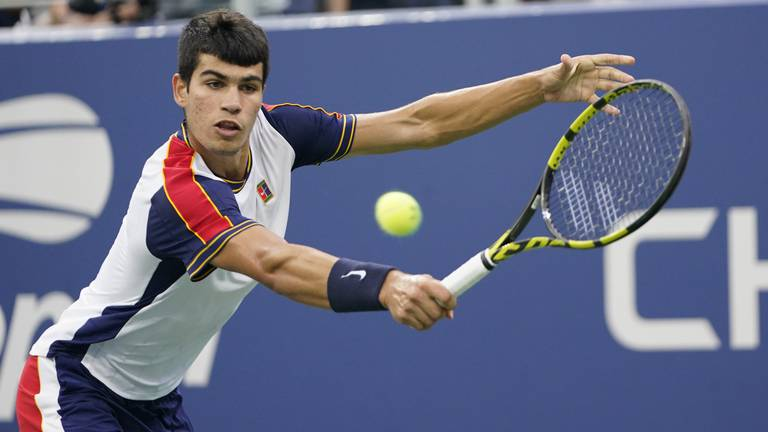 An image that illustrates this article Carlos Alcaraz remains grounded despite booking quarter-final spot at US Open