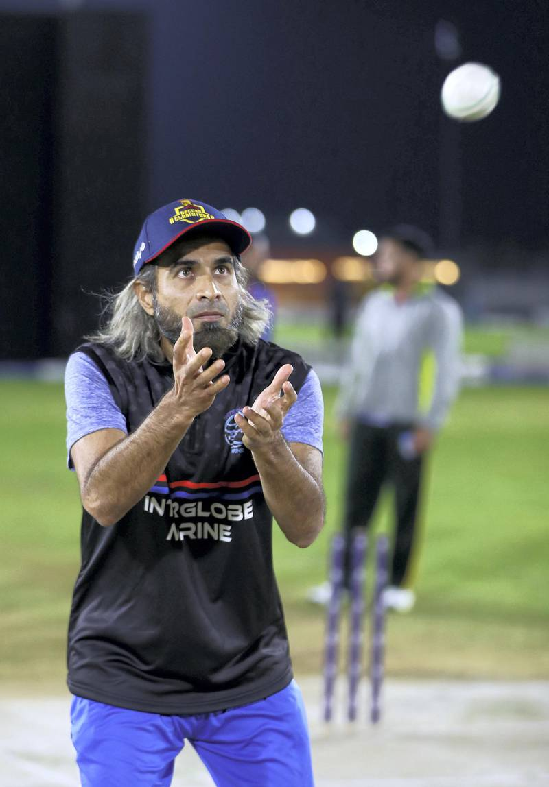 Dubai, United Arab Emirates - Reporter: Paul Radley. Sport. Cricket. Imran Tahir, South Africa and IPL star, playing local cricket in the UAE for Interglobe Marine. Monday, March 15th, 2021. Dubai. Chris Whiteoak / The National