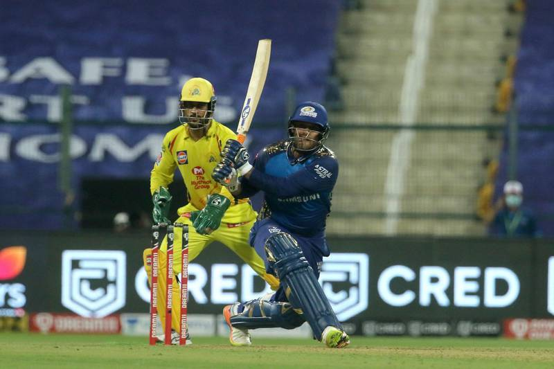 Saurabh Tiwary of Mumbai Indians plays a shot during match 1 of season 13 of the Dream 11 Indian Premier League (IPL) between the Mumbai Indians and the Chennai Superkings held at the Sheikh Zayed Stadium, Abu Dhabi in the United Arab Emirates on the 19th September 2020.  Photo by: Vipin Pawar  / Sportzpics for BCCI