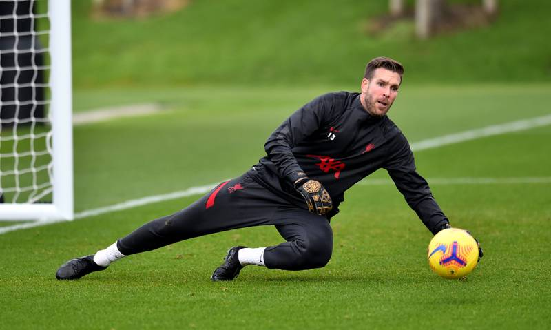 KIRKBY, ENGLAND - NOVEMBER 26: (THE SUN OUT, THE SUN ON SUNDAY OUT) Adrian of Liverpool during a training session at AXA Training Centre on November 26, 2020 in Kirkby, England. (Photo by Andrew Powell/Liverpool FC via Getty Images)