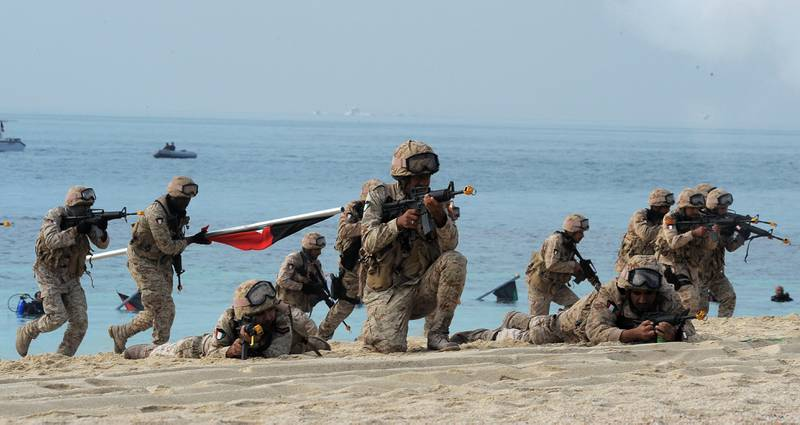 Kuwaiti Marines re-enact the landing at Garouh Island on Tuesday, Jan 25, 2011. Garouh was the first Kuwaiti land liberated from the Iraqi occupying forces who invaded the Emirate during the period of August 2nd, 1990 to February 26th, 1991.The island was liberated in January 25th, 1991 after five hours of battle between coalition forces and Iraqi troops in which the latter were captured and the Kuwaiti flag was raised.(Photo:Gustavo Ferrari/The National)