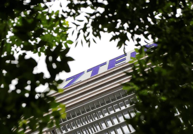 The logo of China's ZTE Corp is seen on the building of ZTE Beijing research and development center in Beijing, China June 13, 2018. REUTERS/Jason Lee