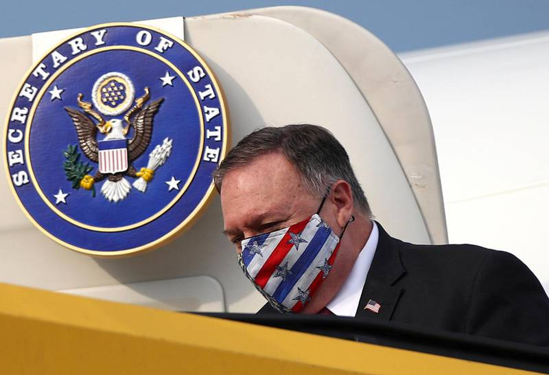 EDITORS NOTE: Graphic content / US Secretary of State Mike Pompeo wears a protective face mask as he arrives at the airport in Vienna, Austria on August 13, 2020.  US Secretary of State Mike Pompeo is on a four-nation tour in Europe. - ALTERNATIVE CROP   / AFP / POOL / POOL / LISI NIESNER / ALTERNATIVE CROP
