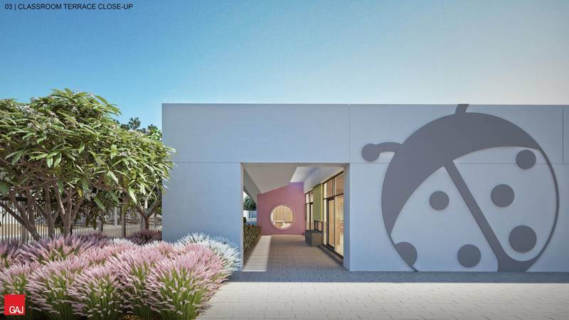 How the new Al Barsha branch of Ladybird Nursery will look when it opens in 2021. Contactless thermal scanners and UV lights to kill off airborne viruses are some of the measures in place to reduce the risk of Covid-19. Rendering of classroom terrace. Courtesy: Ladybird Nursery