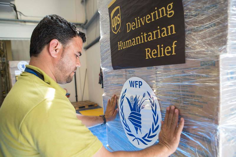 DUBAI, UNITED ARAB EMIRATES, 19 APRIL 2017. The World Food Programme loads trucks with food and supplies in response to the drought in Somalia at the International Humanitarian City Warehouses in Dubai. (Photo: Antonie Robertson/The National) ID: 74643. Journalist: Caline Malek. Section: National. *** Local Caption ***  AR_1904_World_Food_Programme-02.JPG