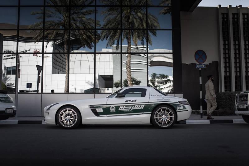 Dubai police supercar fleet.  Mercedes-Benz SLS-AMG.  Courtesy WSF Creative  *** Local Caption ***  wk01ma-police5-PG.jpg