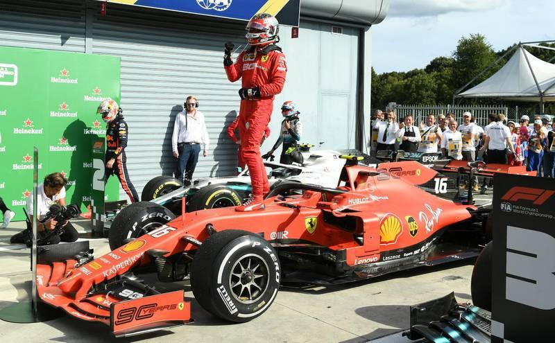 Formula One F1 - Italian Grand Prix - Circuit of Monza, Monza, Italy - September 8, 2019   Ferrari's Charles Leclerc celebrates winning the race   REUTERS/Jennifer Lorenzini