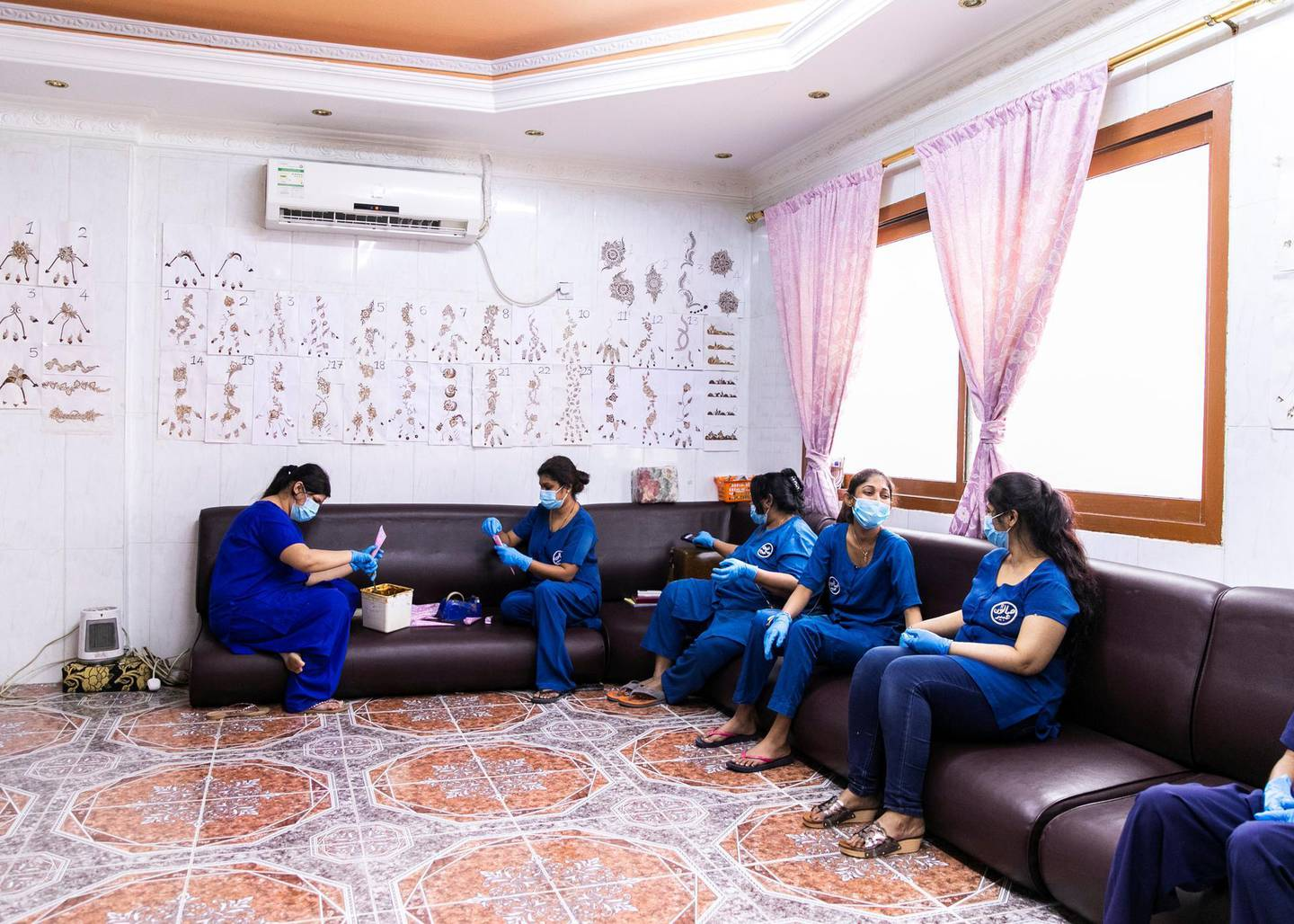 ABU DHABI, UNITED ARAB EMIRATES. 2- MAY 2020.Beauty specialists in Abeer Salon in Baniyas neighborhood. They've been closed for the duration of 2 months, and opened only yesterday. (Photo: Reem Mohammed/The National)Reporter:Section: