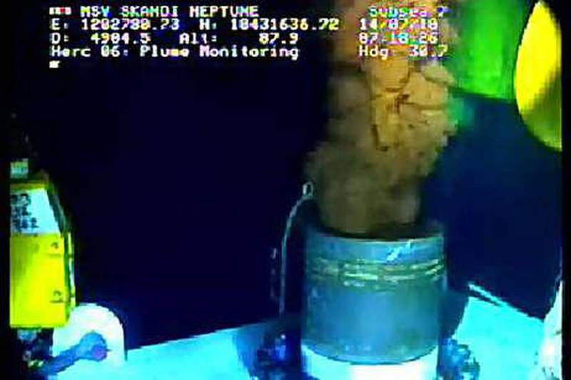 This still image from a live BP video feed shows oil gushing from a leaking BP oil well-pipe after a new sealing cap was installed July 14, 2010 in the Gulf of Mexico.  BP was poised Wednesday to carry out a make-or-break test on the integrity of the leaking Gulf of Mexico oil well, following a delay imposed by US authorities. The former Coast Guard chief leading the US response to the disaster took the decision to put the test off until Wednesday at the earliest after meeting Energy Secretary Steven Chu, a Nobel-winning physicist, and other experts. BP is poised to test whether a 75-tonne cap can seal the devestating leak without threatening the structural integrity of the well. But US officials fear that if the pressure caused by shutting off the flow of oil increases too quickly, it could send oil shooting up from a new leak on the sea floor -- further aggravating the worst oil spill in US history.   AFP PHOTO / BP / HANDOUT   == RESTRICTED TO EDITORIAL USE - NOT FOR SALE FOR MARKETING OR ADVERTISING CAMPAIGN ==
